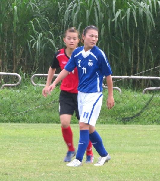 汐止林玉惠(前)包辦球隊所進的兩球。